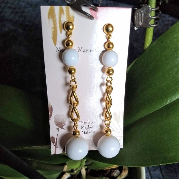 gold chain white bead ball long dangle earrings